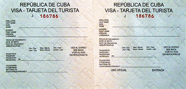 Cuban Tourist Card